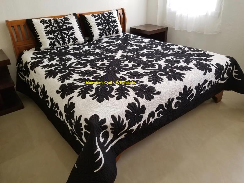 Hibiscus-BLK<br> 2 pillow shams included