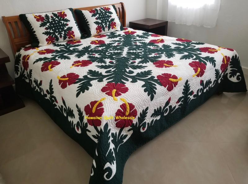 Hibiscus-BGRM<br>2 pillow shams included<br><font color=red>Superior Materials</font>