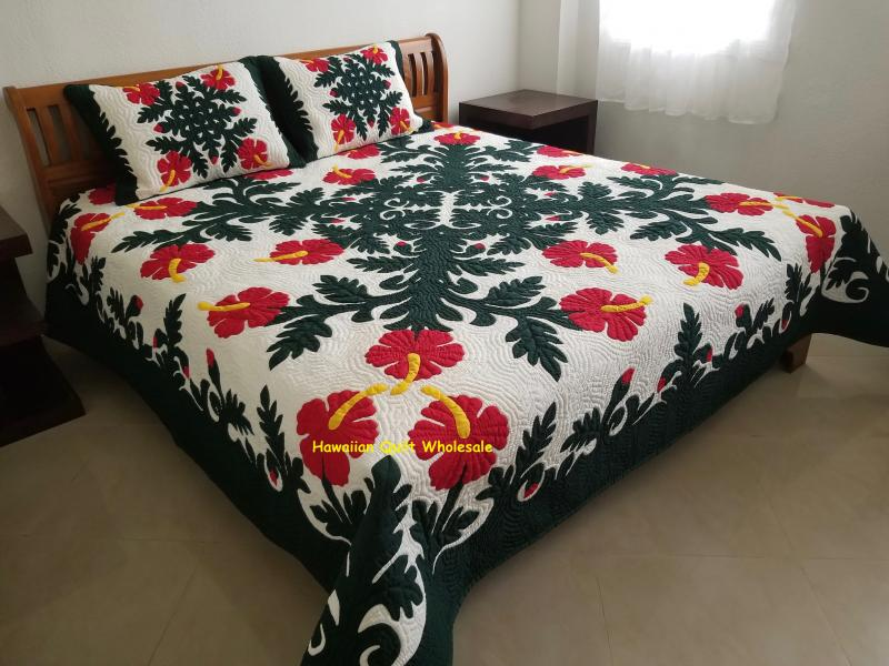 Hibiscus-BGRE<br>2 pillow shams included<br><font color=red>Superior Materials</font>