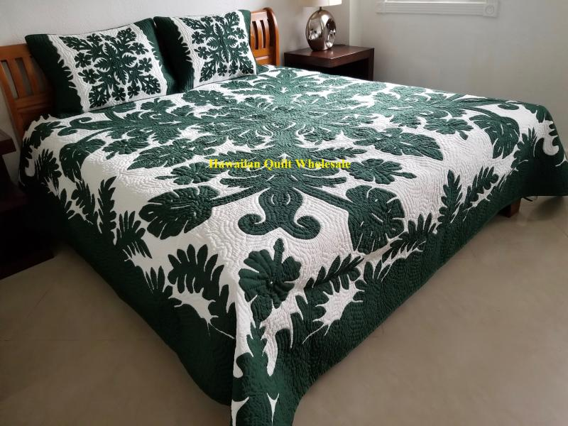 *Hibiscus-Fern-BG*<br> 2 pillow shams included<br><font color=red>Super Fine Materials</font>