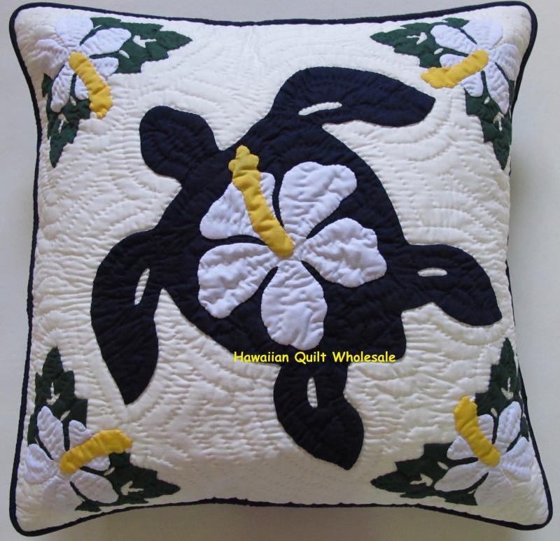 Sea Turtle-Hibiscus-NBW <br>2 pillow covers
