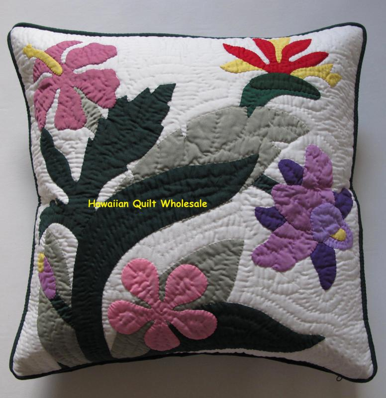 Birds of Paradise-Hibiscus-Plumeria-Catleya-M<br>2 pillow covers