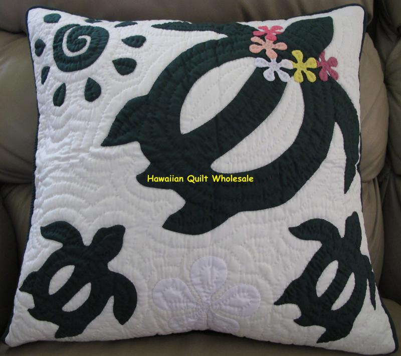 Sea Turtle-Plumeria-BG<br>2 pillow covers